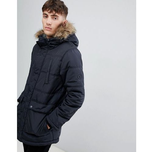 Esprit parka with faux fur hood in black - black