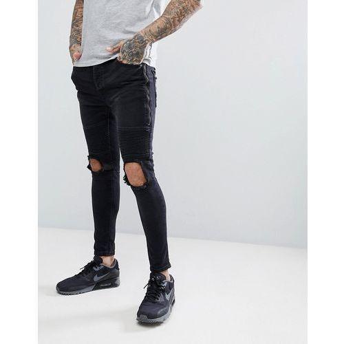 Brave Soul Black Blown Out Zipped Skinny Biker Jeans - Black, jeans