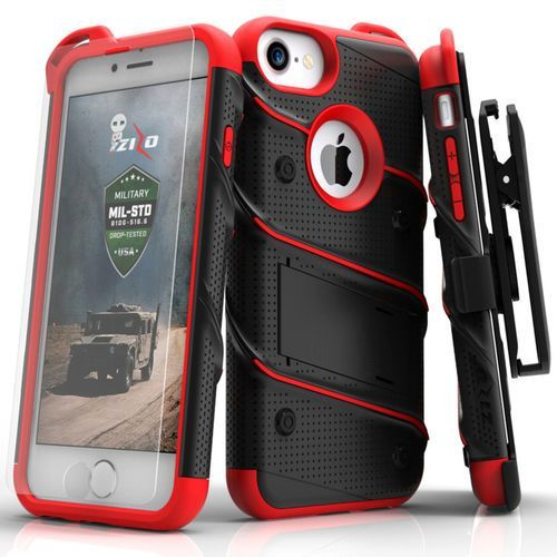 bolt cover etui pancerne iphone 8 / 7 / 6s / 6 (black/red) + szkło hartowane na ekran marki Zizo