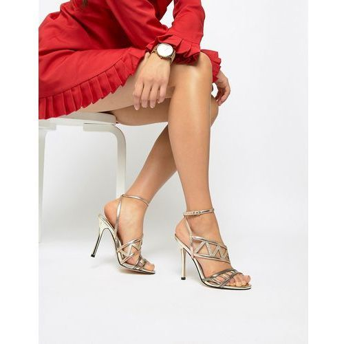 River Island caged heeled sandals in metallic - Copper