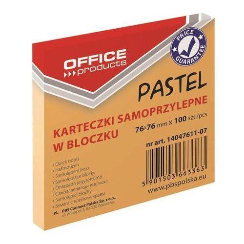 Office products Bloczek samoprzylepny , 76x76mm, 1x100 kart., pastel, pomarańczowy (5901503663363)