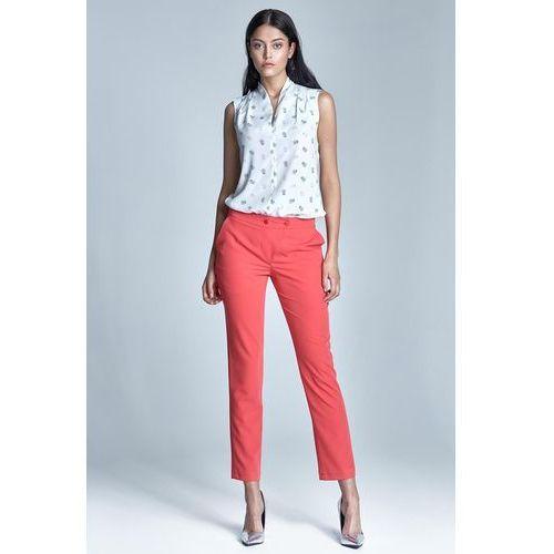 Koralowe Eleganckie Spodnie Cygaretki z Asymetrycznym Zapięciem, NSD23kor