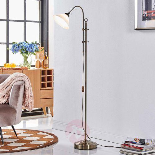 Piękna lampa stojąca otis w kol. post. mosiądzu marki Lampenwelt.com