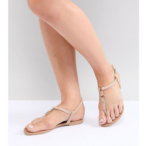 wide fit toe post leather look flat sandal - beige, New look