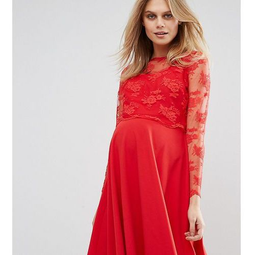 lace overlay midi swing dress - red marki Queen bee