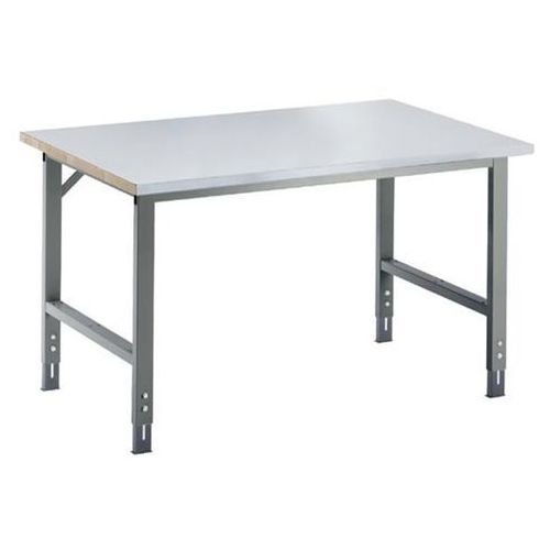Stół roboczy, z regulacją wysokości, 760 - 1080 mm, blat z okładziną z blachy st