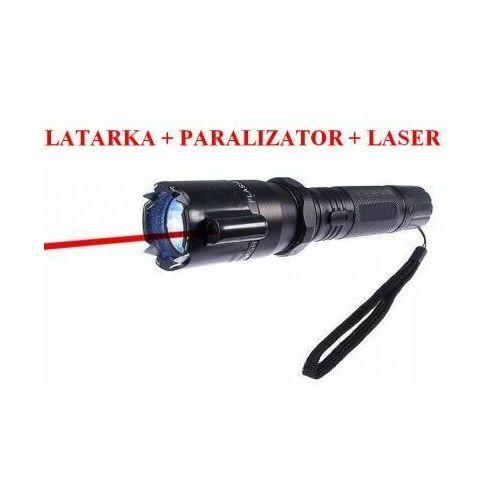 C.f.l. Metalowa latarka z paralizatorem obronnym (500 tyś. volt!) + czerwony laser + smycz na rękę.