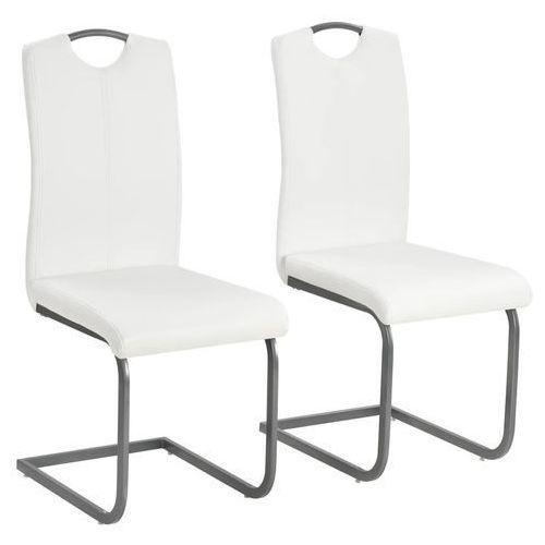 Krzesła do jadalni, 2 szt., sztuczna skóra, 43x55x100 cm, białe, kolor biały