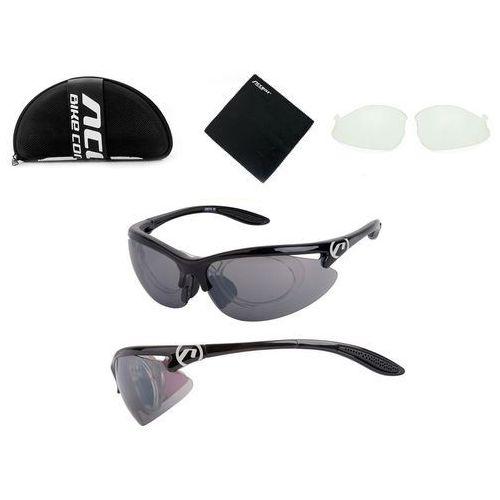 Okulary onyx czarne połysk 2 pary soczewe + adapter marki Accent