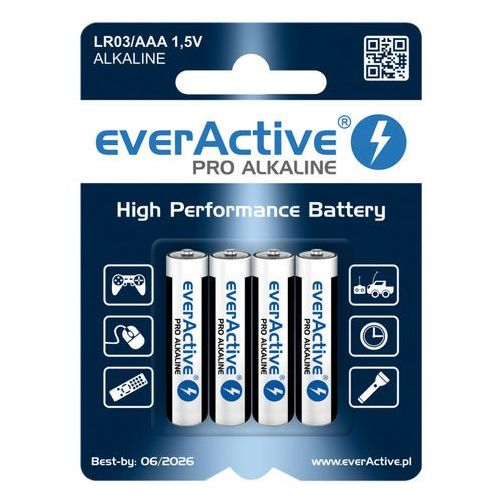 4 x baterie alkaliczne everActive Pro LR03 / AAA (blister) (5902020523369)