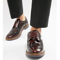 Base london wide fit turner brogues in high shine bordo - red