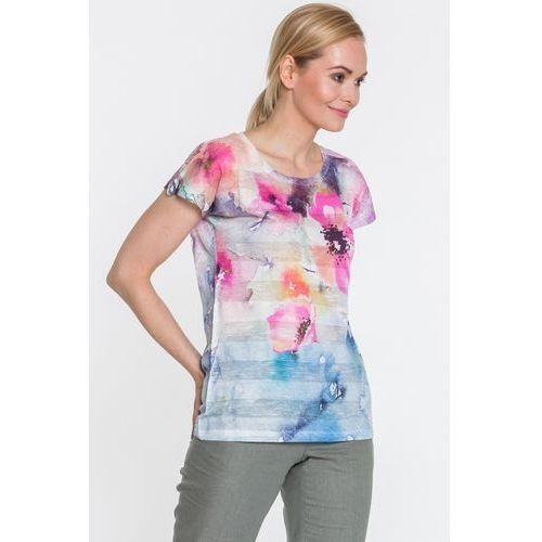 Dzianinowa bluzka w kwiaty - Lara Fabio, 1 rozmiar