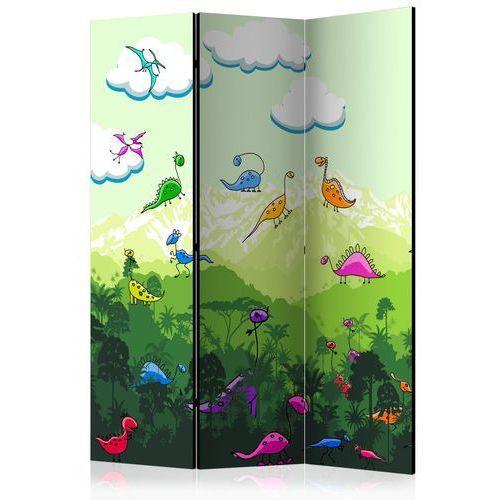 Artgeist Parawan 3-częściowy - kolorowe dinozaury [room dividers]
