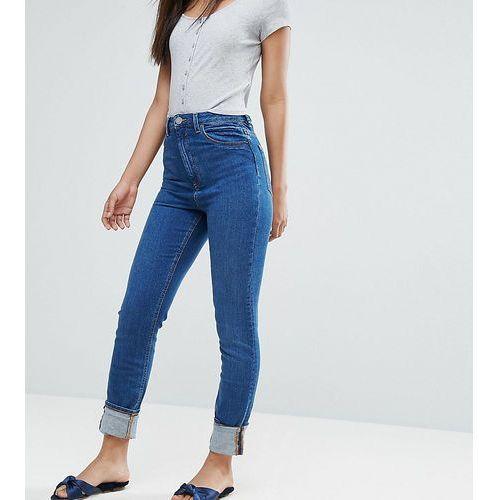 ASOS TALL FARLEIGH High Waist Slim Mom Jeans in Blossom Darkwash - Blue, z