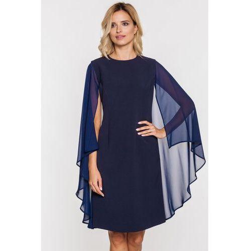 Granatowa sukienka z peleryną - Metafora, kolor niebieski