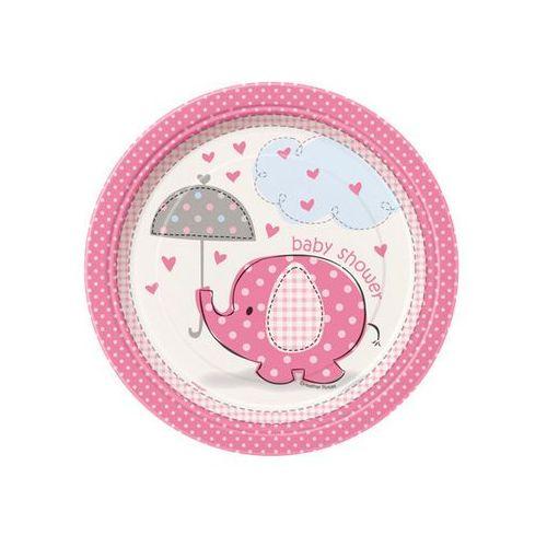 Unique Talerzyki na baby shower słonik z parasolem dla dziewczynki - 23 cm - 8 szt.