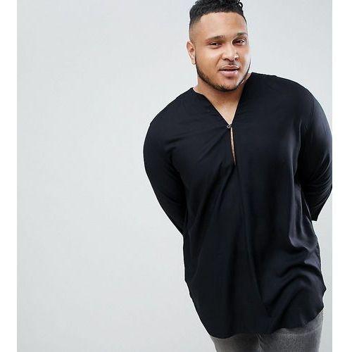 ASOS DESIGN Plus Regular Fit Longline Viscose Shirt In Black With V Neck - Black, w 2 rozmiarach