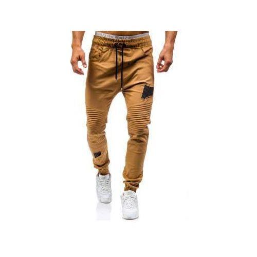 Spodnie joggery męskie camelowe Denley 0829