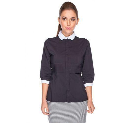Koszula czarna z zakładkami - Duet Woman, 1 rozmiar