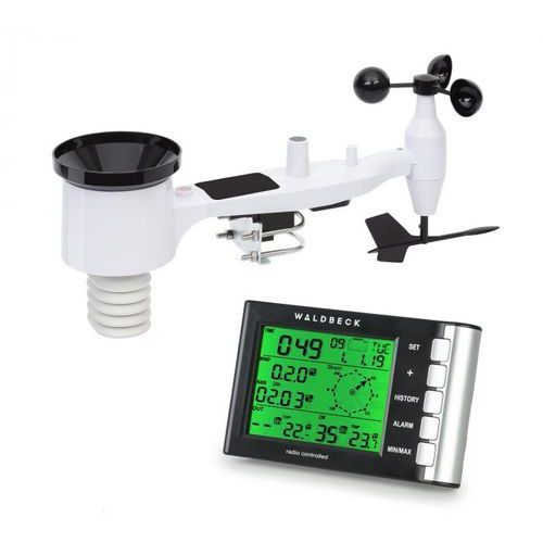 Waldbeck kopernikus, radiowa stacja pogodowa, wyświetlacz dotykowy lcd, moduł wewnętrzny i zewnętrzny, biały (4060656222825)