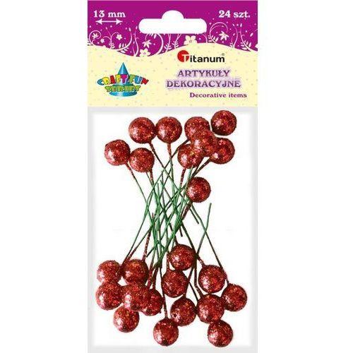Brokatowe kulki na piku czerwone 13mm 24 craft-fun - czerwone marki Titanum