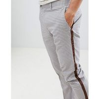 River Island skinny checked trousers with taping in ecru - Cream