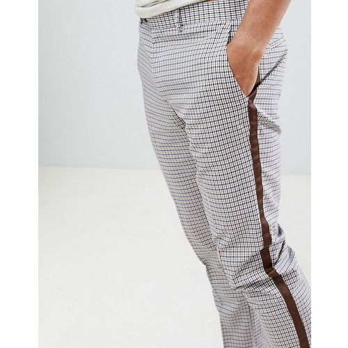 skinny checked trousers with taping in ecru - cream marki River island