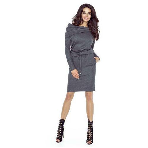 Ciemno szara matowa sukienka krótka sportowa z szerokim golfem, Bergamo, 34-44