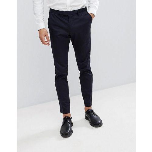 Burton Menswear Skinny Smart Trouser In Navy Sateen - Navy, kolor szary