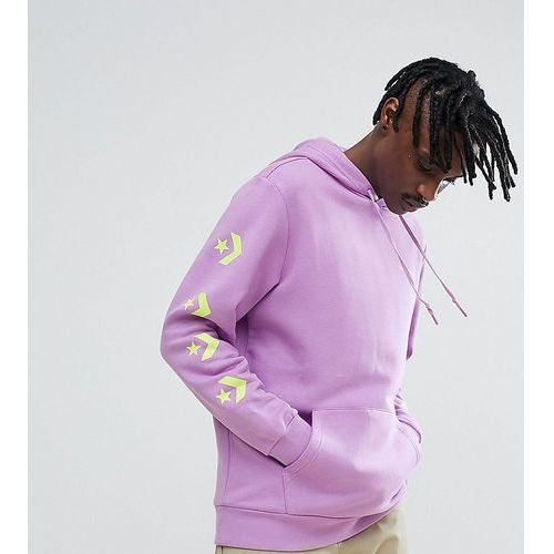 Converse pullover hoodie with arm print in purple exclusive to asos - purple