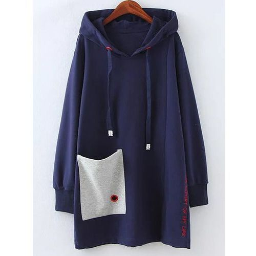 Plus size fleece pocket patched long hoodie marki Rosegal