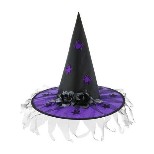 Kapelusz czarownicy fioletowy z różami na Halloween - 1 szt. - sprawdź w wybranym sklepie