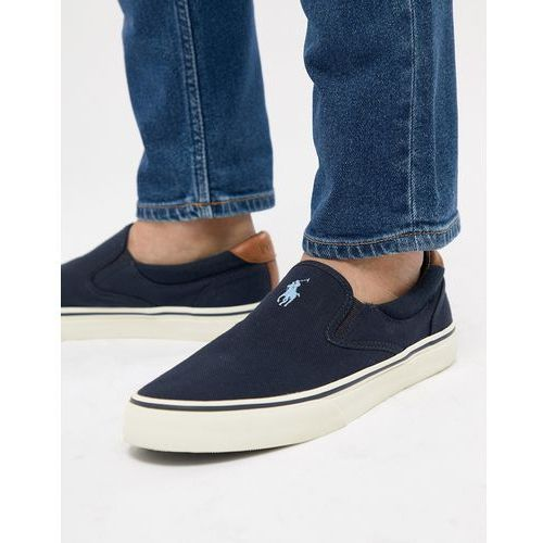 thompson 2 pique slip on plimsolls leather trims in navy - navy, Polo ralph lauren