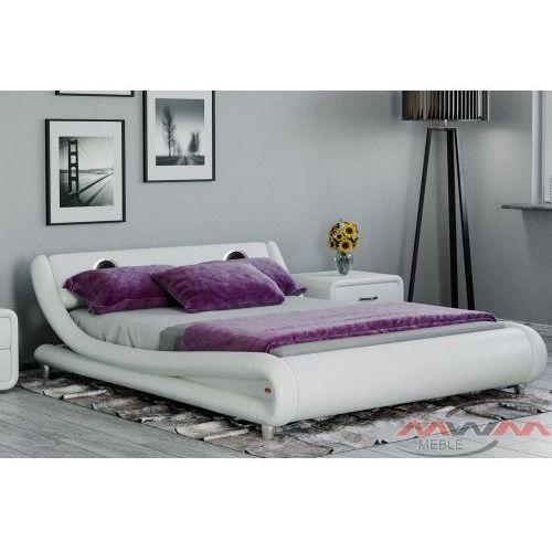 Łóżko tapicerowane do sypialni 140x200 114 białe z głośnikami marki Meblemwm
