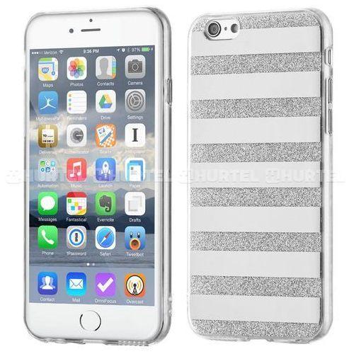 Wozinsky  żelowy pokrowiec shiny case brokat iphone 6s 6 paski srebrny - srebrny