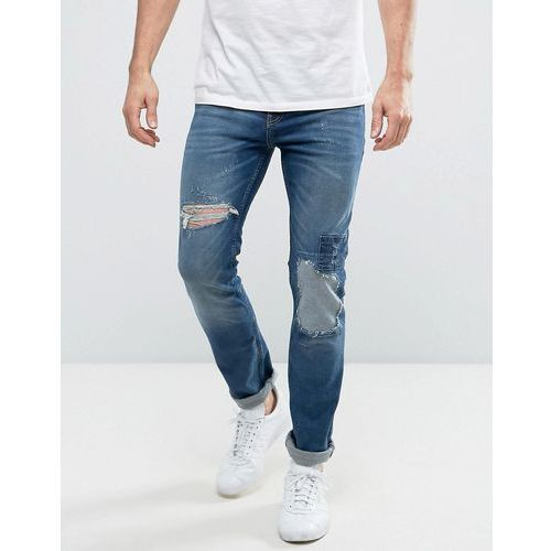 New Look Slim Jeans With Rip And Repair Detail In Mid Wash - Blue, jeansy
