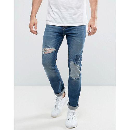 New Look Slim Jeans With Rip And Repair Detail In Mid Wash - Blue, kolor niebieski