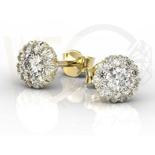 Kolczyki z żółtego i białego złota apk-42b z diamentami. - żółte i białe \ diament marki Węc - twój jubiler