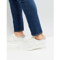 Fred Perry Spencer Mesh Leather Trainers In White - White, kolor biały