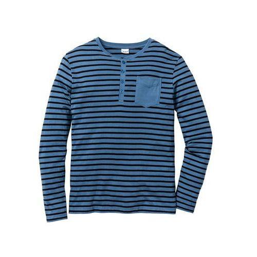 Shirt z długim rękawem regular fit  niebieski dżins w paski marki Bonprix