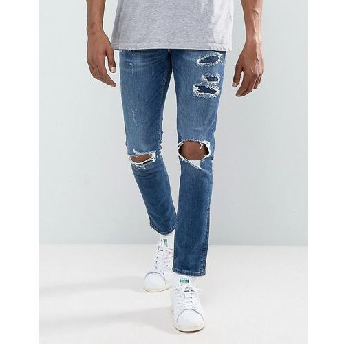 River Island Skinny Jeans With Rips In Mid Wash - Blue, skinny