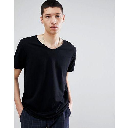 Weekday Dark V-Neck T-Shirt Black - Black, kolor czarny