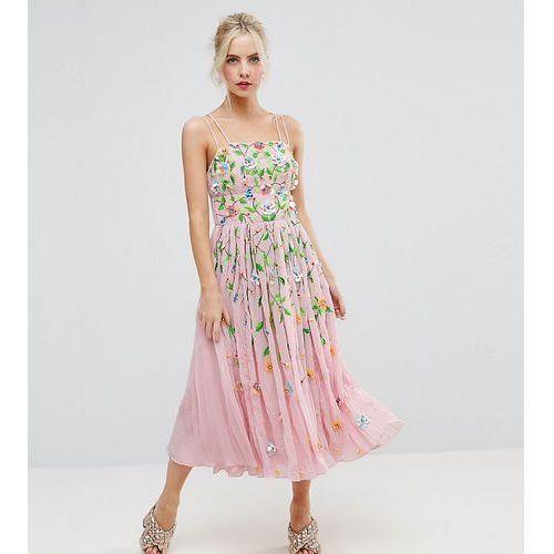 Asos petite salon floral embellished crinkle midi dress - pink