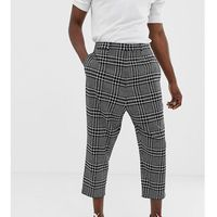 drop crotch tapered cropped smart trouser in black check - grey, Noak