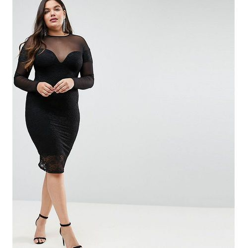 ASOS CURVE Long Sleeve Midi Lace Bodycon Dress with Contrast Mesh - Black
