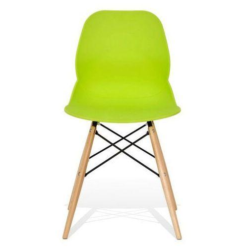 Krzesło leaf dsw premium zielone - polipropylen, podstawa bukowa marki Sofa.pl