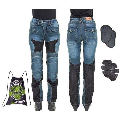 Damskie jeansowe spodnie motocyklowe bolftyna, niebieski-czarny, l marki W-tec