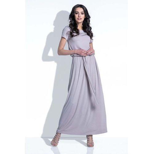 Mocca Sukienka Maxi z Wiązanym Paskiem, YF396mocca