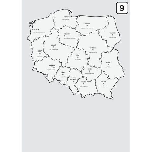 Wally - piękno dekoracji Magnetyczna tablica suchościeralna mapa polski z podziałem na województwa 238