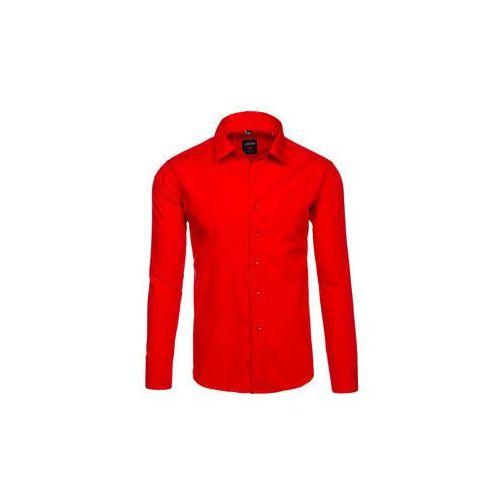 Koszula męska elegancka z długim rękawem czerwona Denley TS100, kolor czerwony